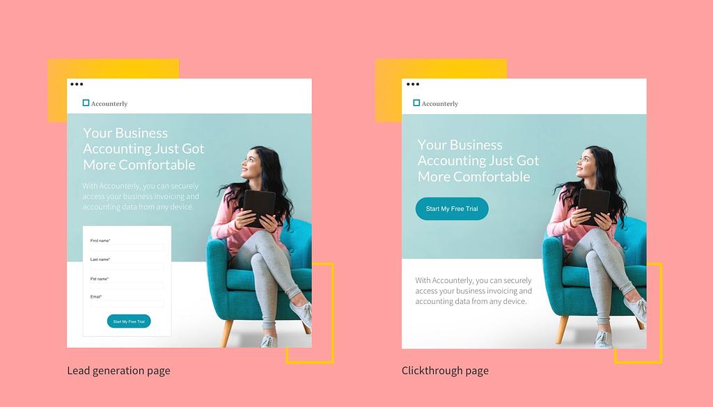 Diferença entre a landing page de lead e de venda
