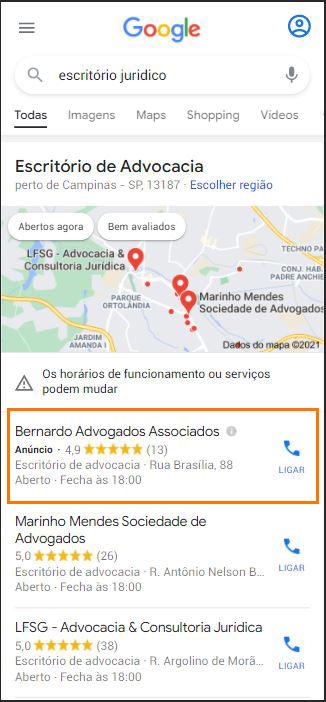Anúncio no Google Maps