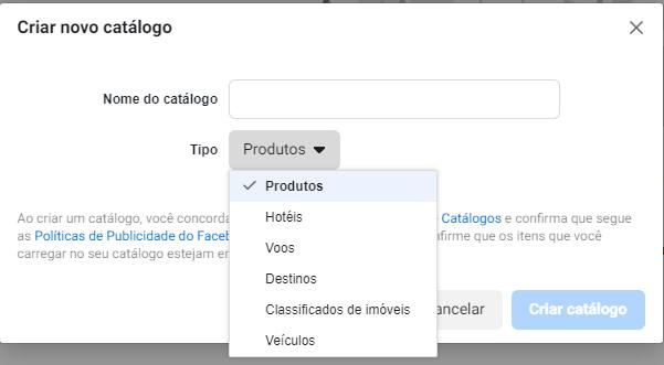 Tipos de catálogo de produtos no Facebook